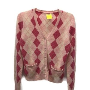 J. Crew Pink Argyle cashmere cardigan